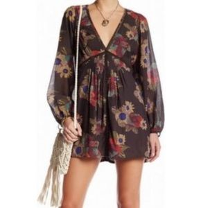 Free People Brown Floral Tunic Dress
